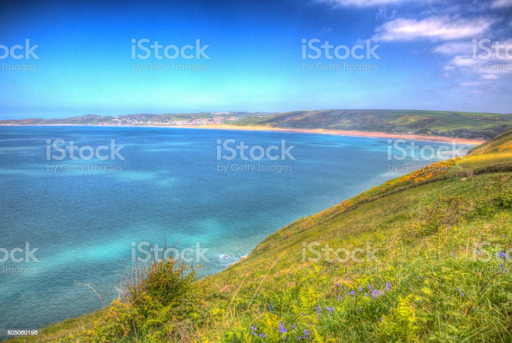 Coast view Woolacombe Devon England UK in summer with blue sky hdr stock photo