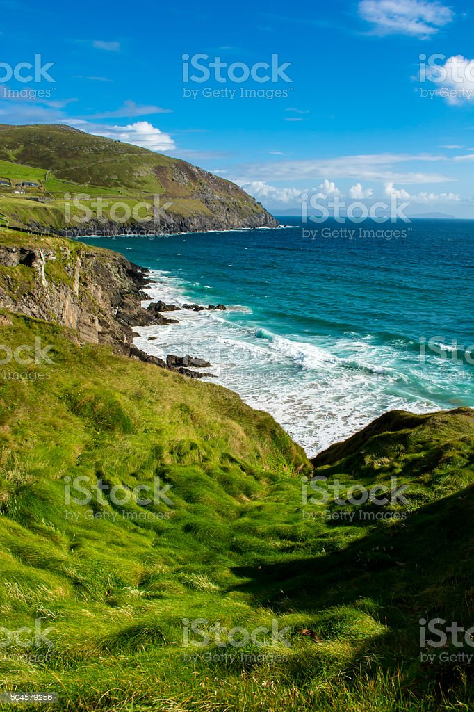 Coast with Big Waves at Slea Head in Ireland stock photo