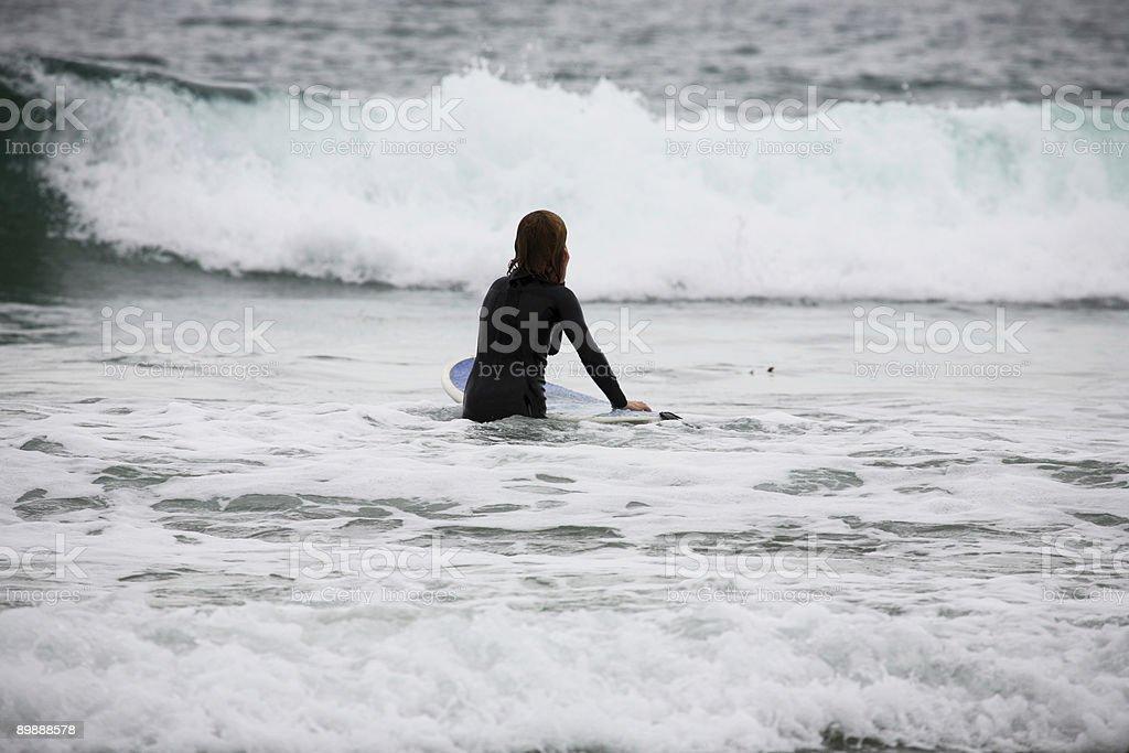 coastal California scene - surfer and board royalty-free stock photo