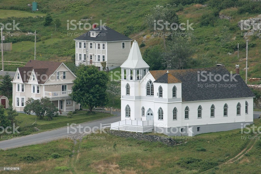 Coastal church Freshwater Carbonear homes Newfoundland Avalon Peninsula stock photo
