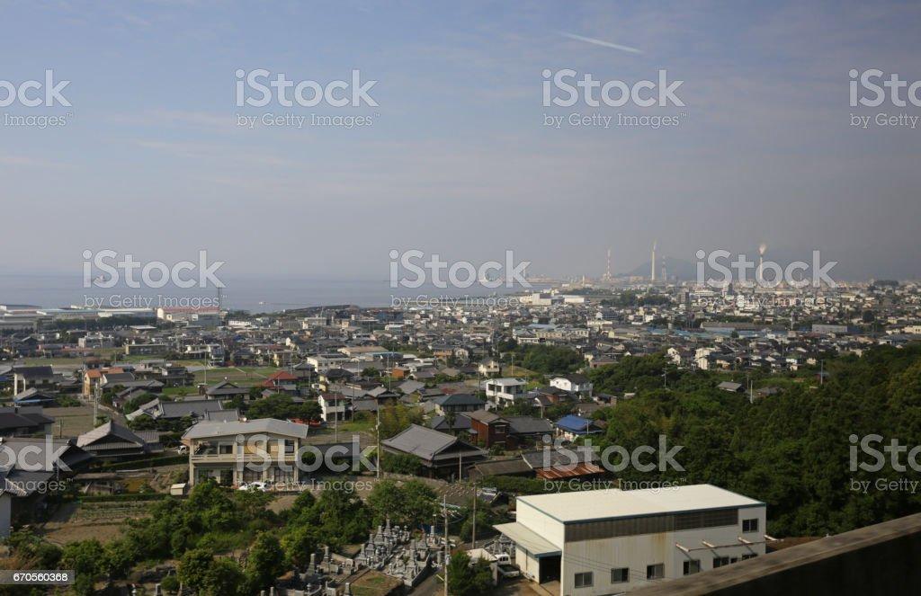 Coastal City of Shikokuchuo, Ehime Prefecture, Shikoku, Japan in Springtime stock photo