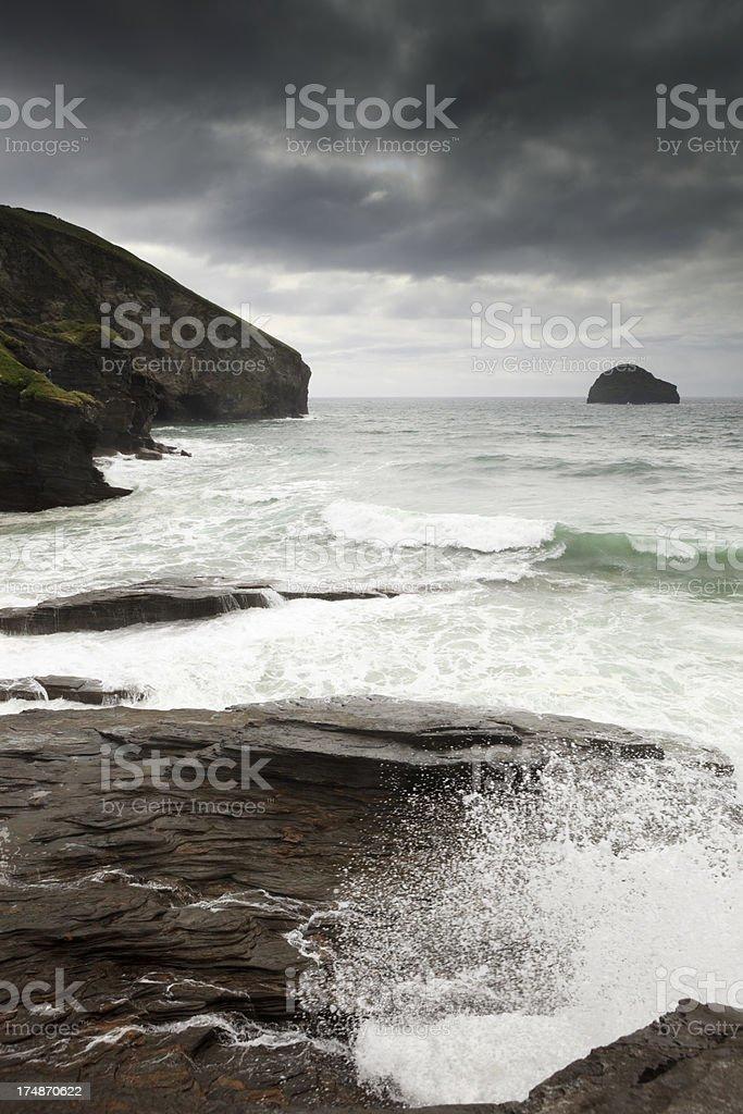 coastal cliffs and rocks at Trebarwith Strand in Cornwall stock photo