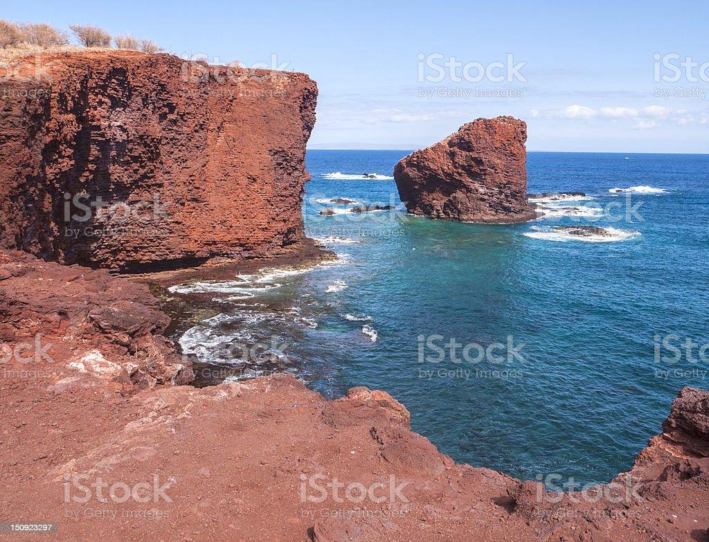 Coastal cliffs of Sweetheart Rock, Lanai, Hawaii stock photo