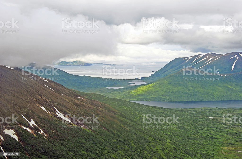 Coastal Clouds over Island Hills royalty-free stock photo