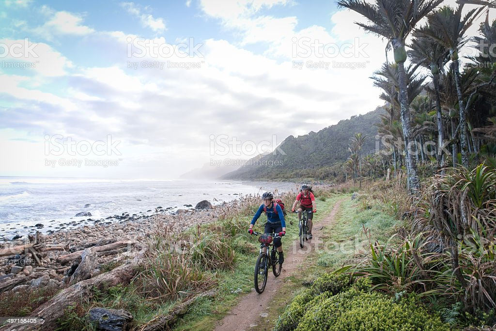 Coastal cycling stock photo