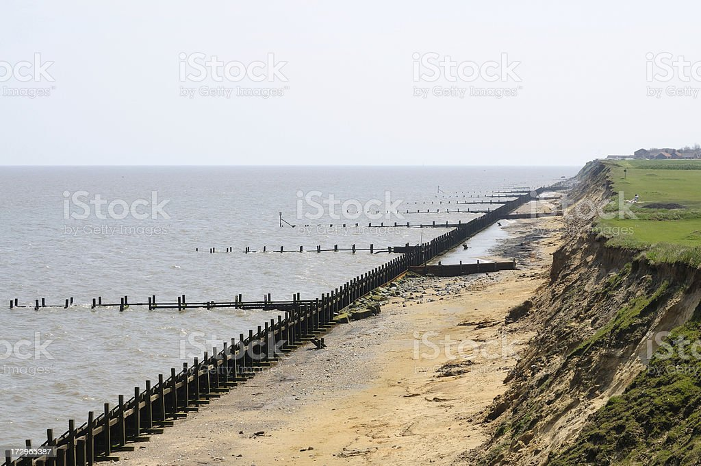 Coastal Defences, Cliff, Norfolk royalty-free stock photo