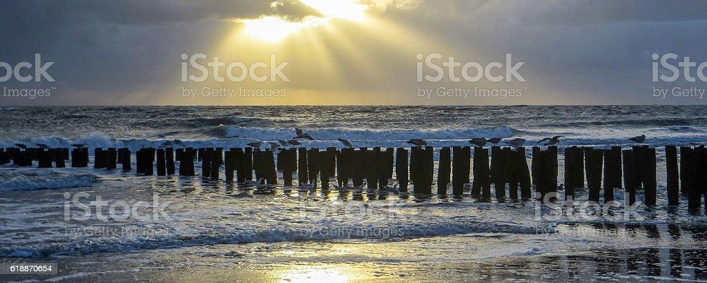 coastal evening scenery stock photo