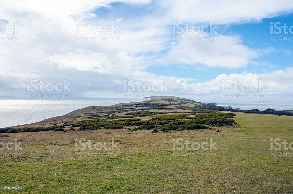 Coastal footpath background in England on the Isle of Wight stock photo