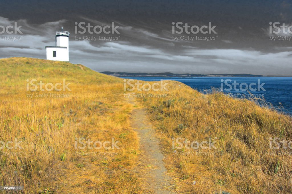 Coastal Island with Lighthouse in Artificial Color stock photo