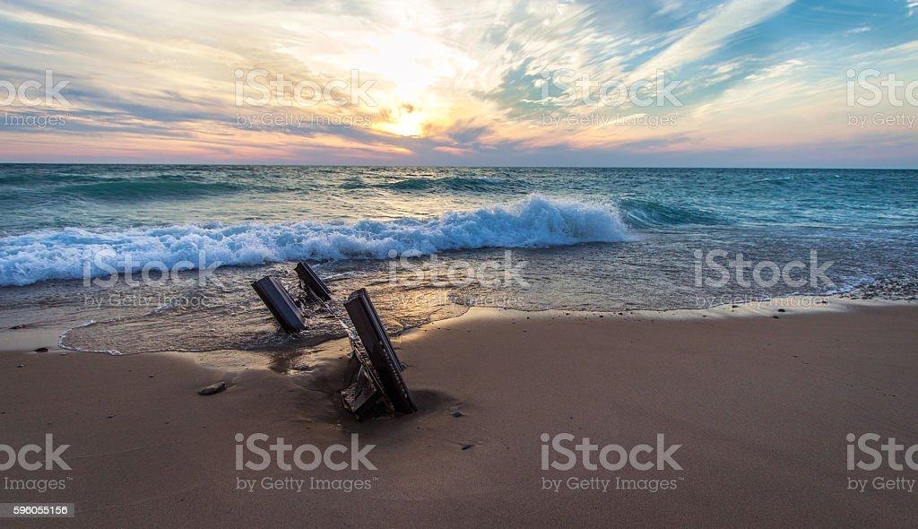 Coastal Lake Michigan Sunset stock photo