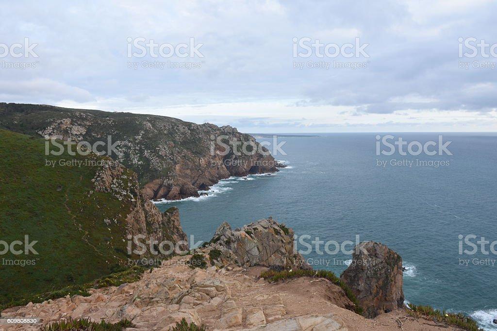 Coastal landscape at Cape da Roca, Portugal stock photo