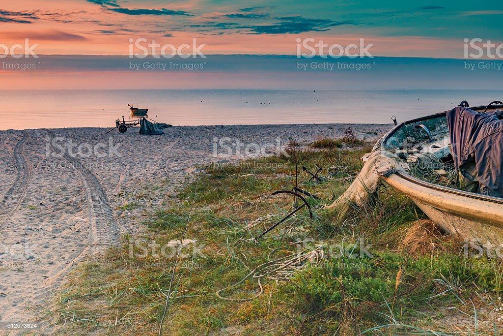 Coastal landscape at dawn, Baltic Sea, Latvia stock photo