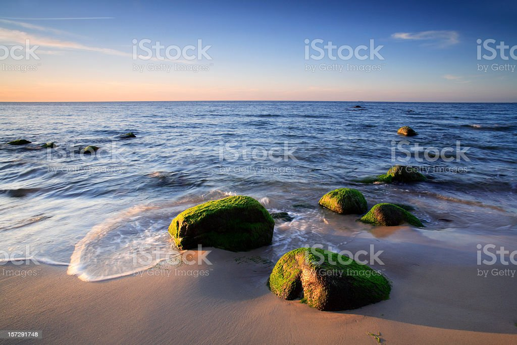 Coastal Landscape at Sunset stock photo