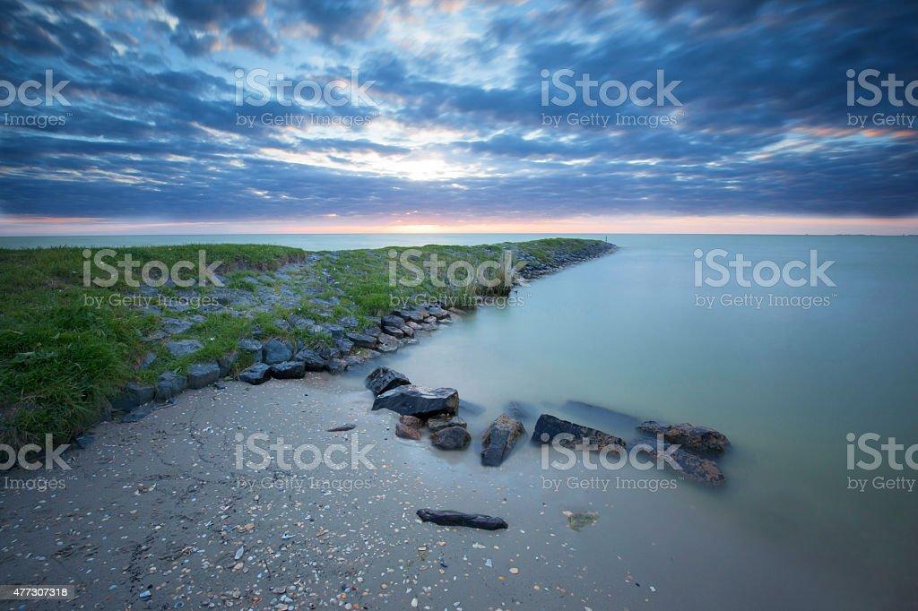 Coastal landscape Ijsselmeer stock photo