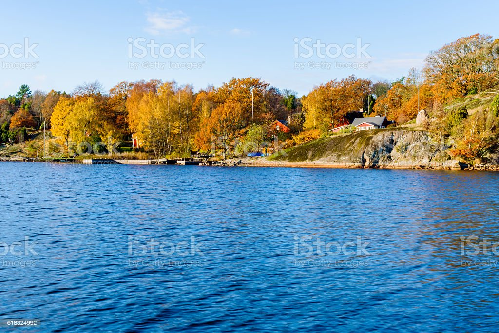 Coastal landscape in fall stock photo