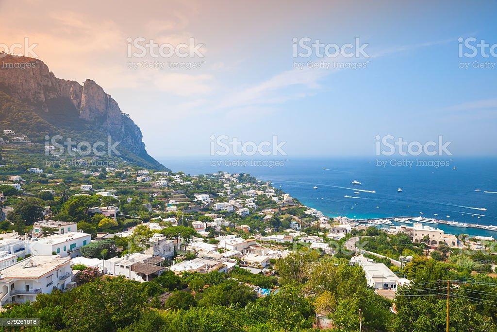 Coastal landscape of Capri island, Italy stock photo