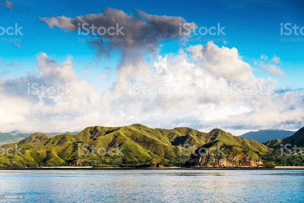 Coastal landscape of island Komodo National Park, UNESCO World H stock photo