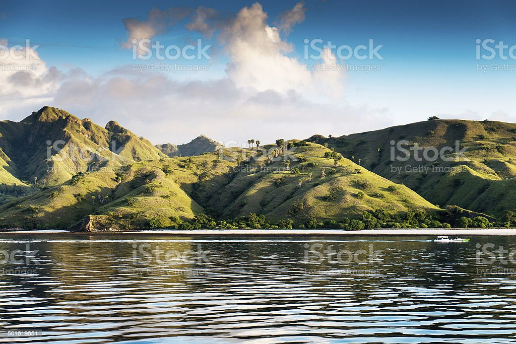 Coastal landscape of island Komodo National Park, UNESCO World H royalty-free stock photo