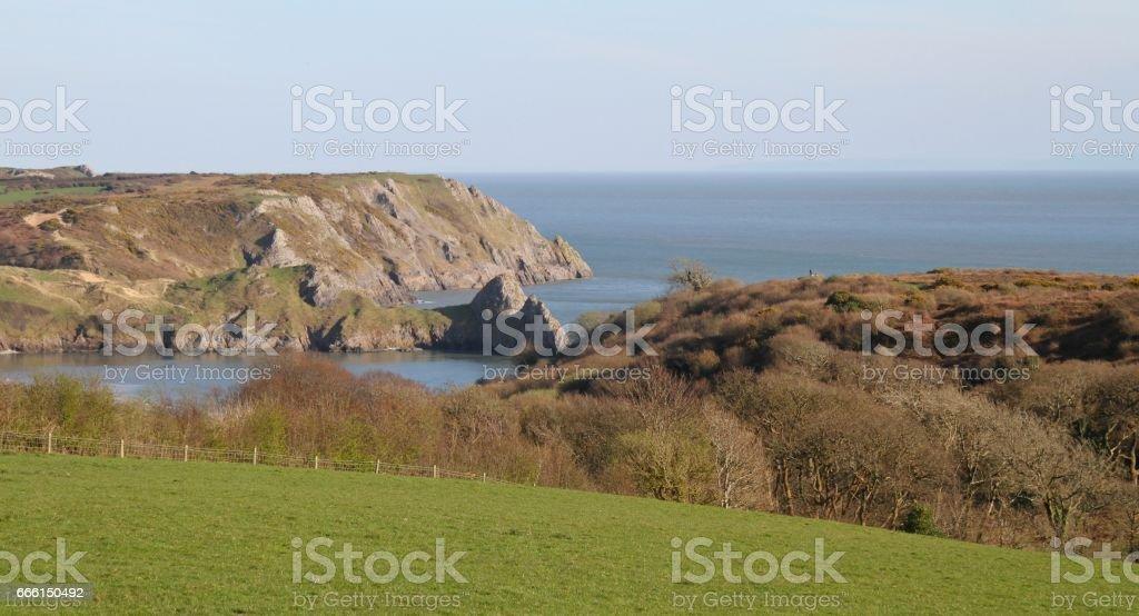 coastal landscape of Three Cliffs Bay Gower Wales stock photo