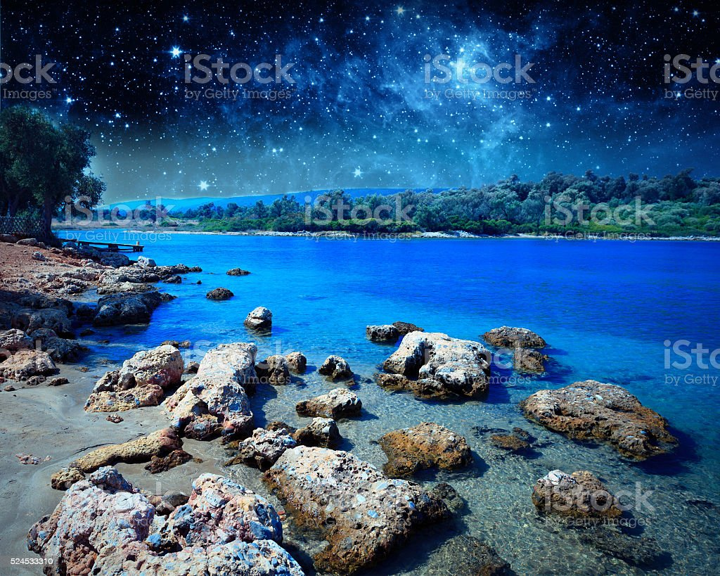 Coastal landscape on Cleopatra's island. Elements of this image stock photo