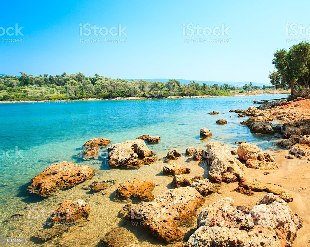 coastal landscape on Cleopatra's island stock photo