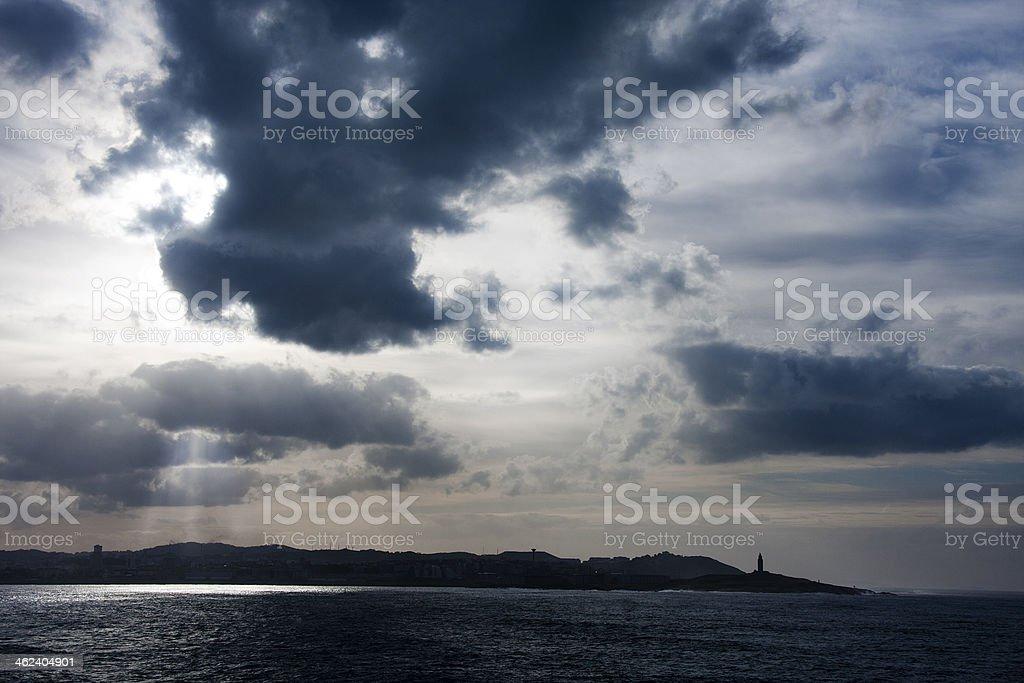 coastal landscape, sunrise stock photo