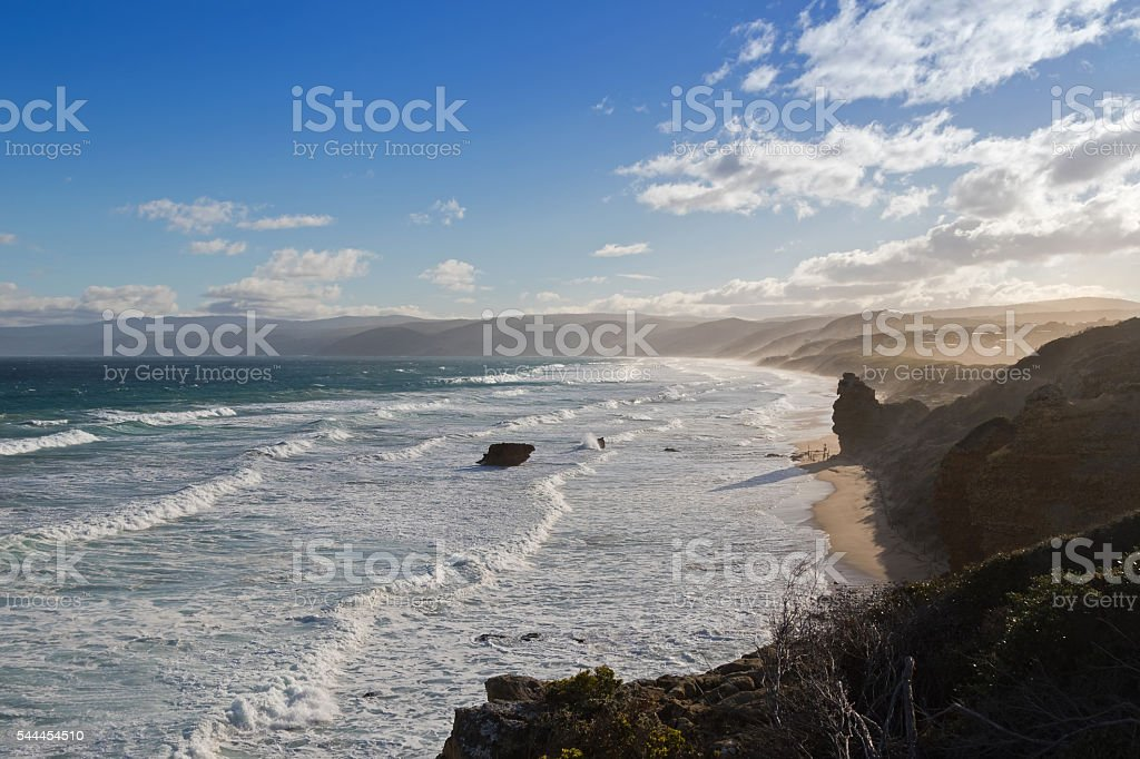 Coastal landscape view from Split Point Lighthouse, Great Ocean Road stock photo