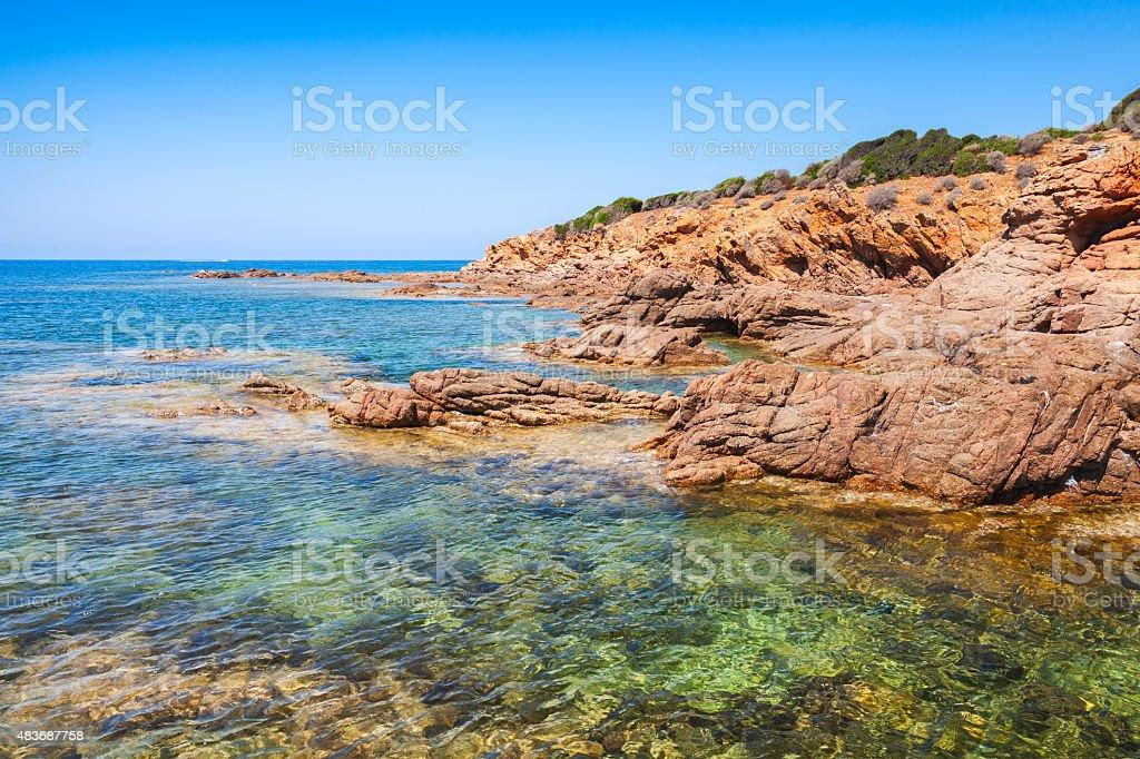 Coastal landscape with empty rocky wild beach stock photo