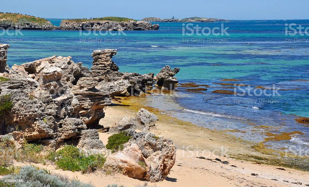 Coastal Limestone with Island Views stock photo