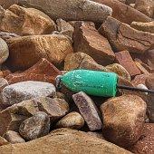 Coastal Maine Rocky Beach, Green Lobster Buoy, Acadia Park, Maine