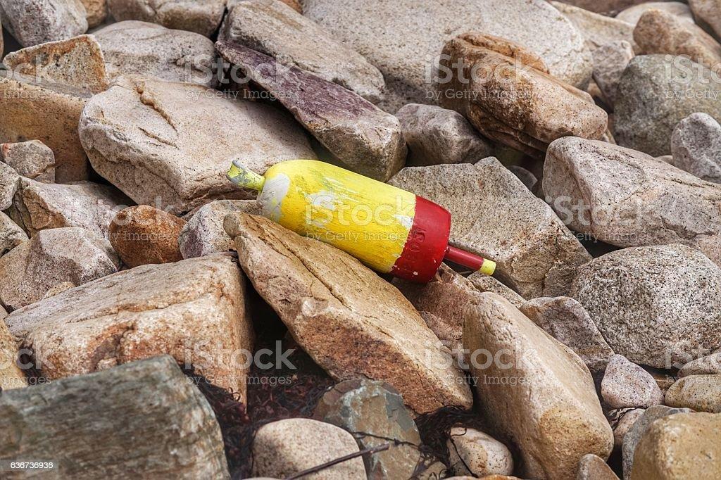 Coastal Maine Rocky Beach, Yellow Lobster Buoy, Acadia Park, Maine stock photo