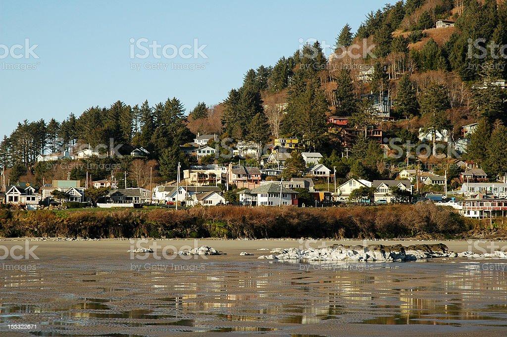 Coastal Oregon Village stock photo