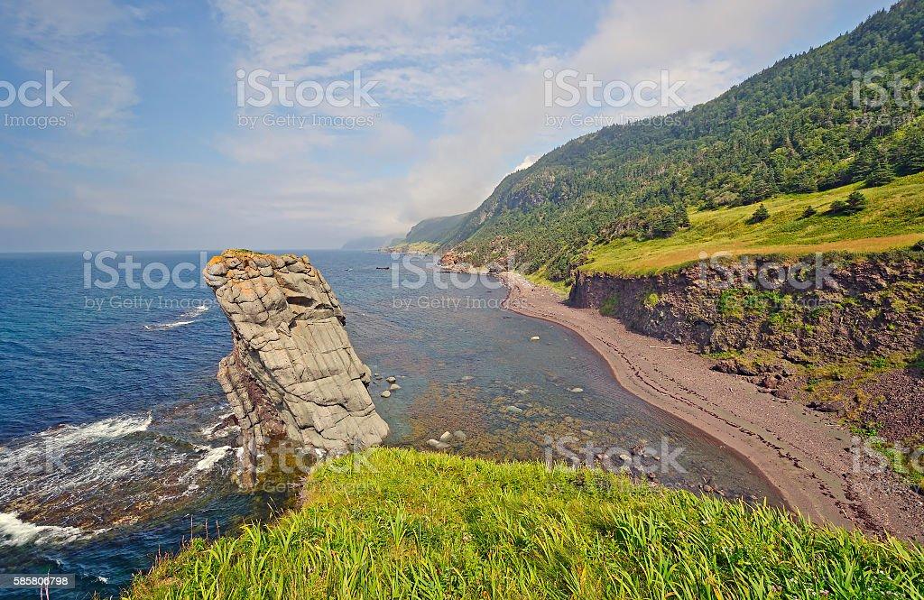 Coastal Panorama on a Remote Coast stock photo