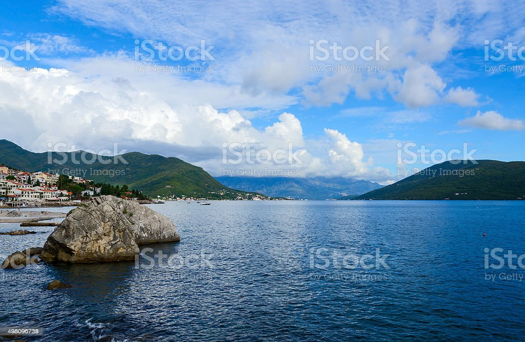 Coastal part of the resort of Herceg Novi, Montenegro stock photo