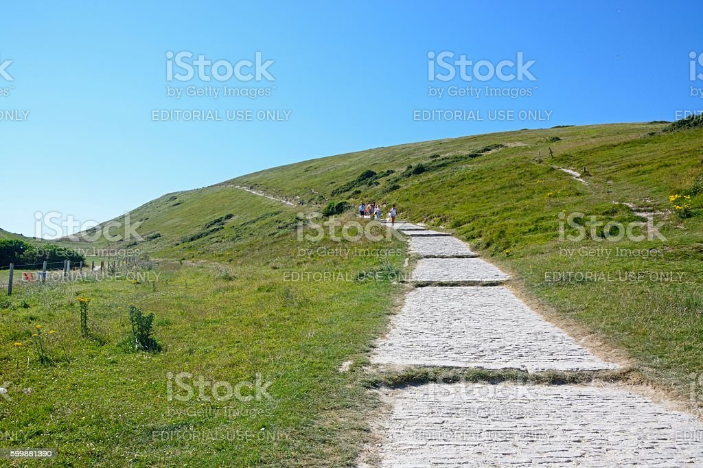 Coastal path at Lulworth Cove. stock photo