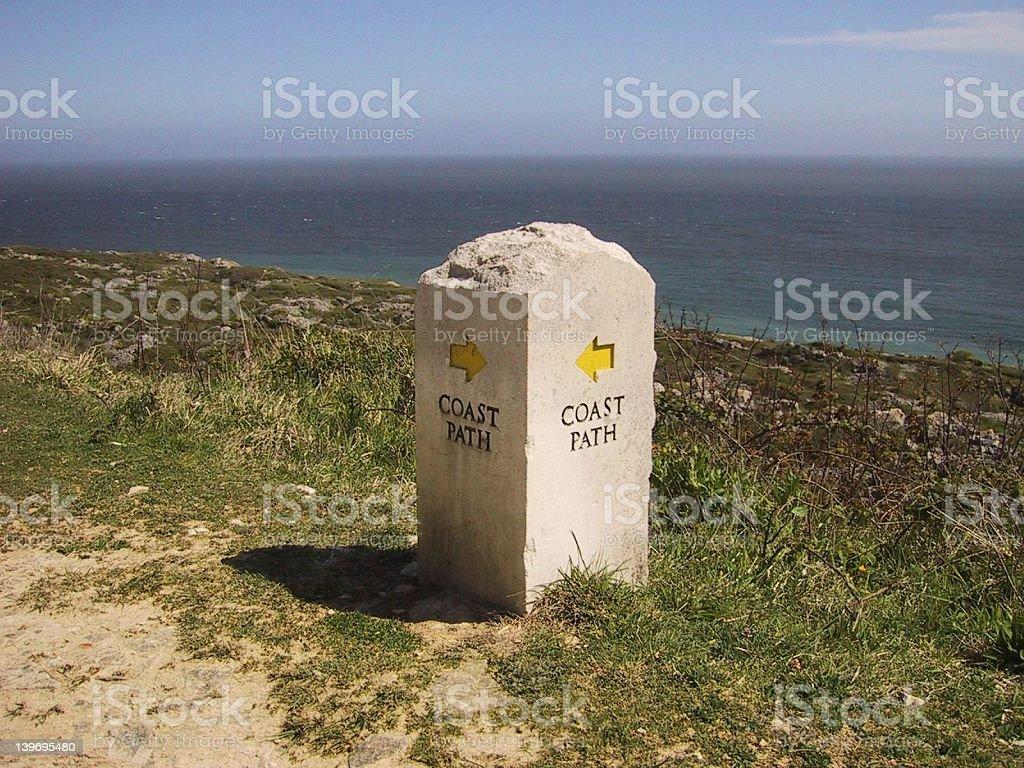 Coastal path signpost royalty-free stock photo
