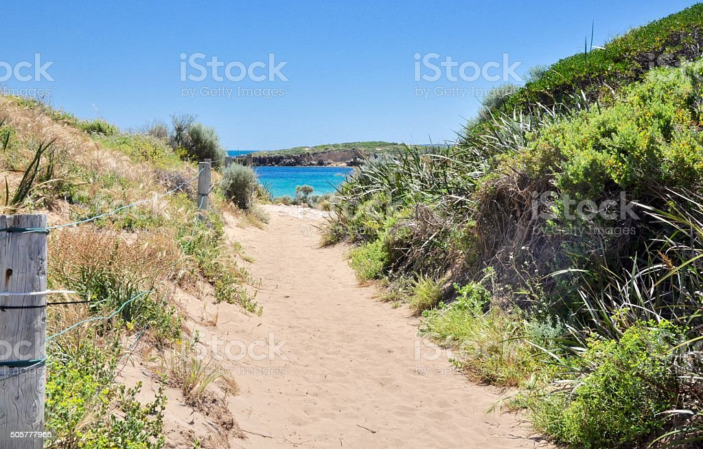 Coastal Path to the Indian Ocean Blue stock photo