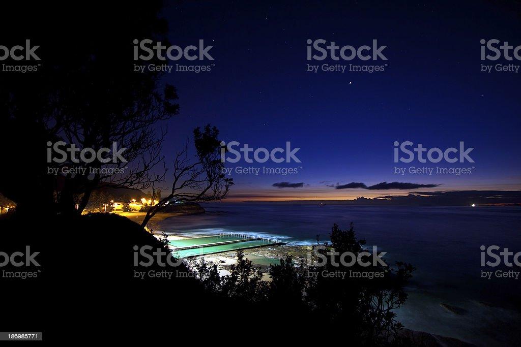 Coastal pools at dawn stock photo