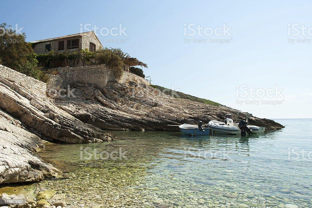 Coastal port on a bay royalty-free stock photo