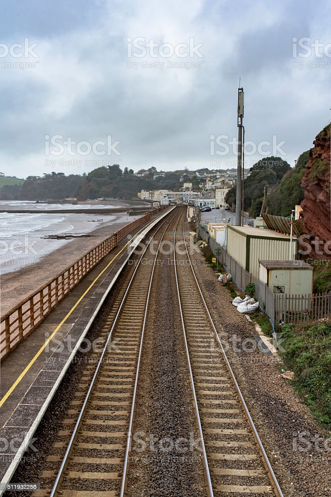 Coastal rail track stock photo