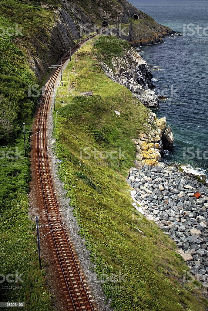 Coastal railway Wicklow Ireland stock photo
