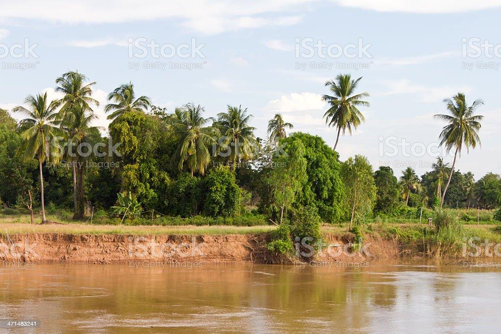 Coastal river water soil erosion. royalty-free stock photo