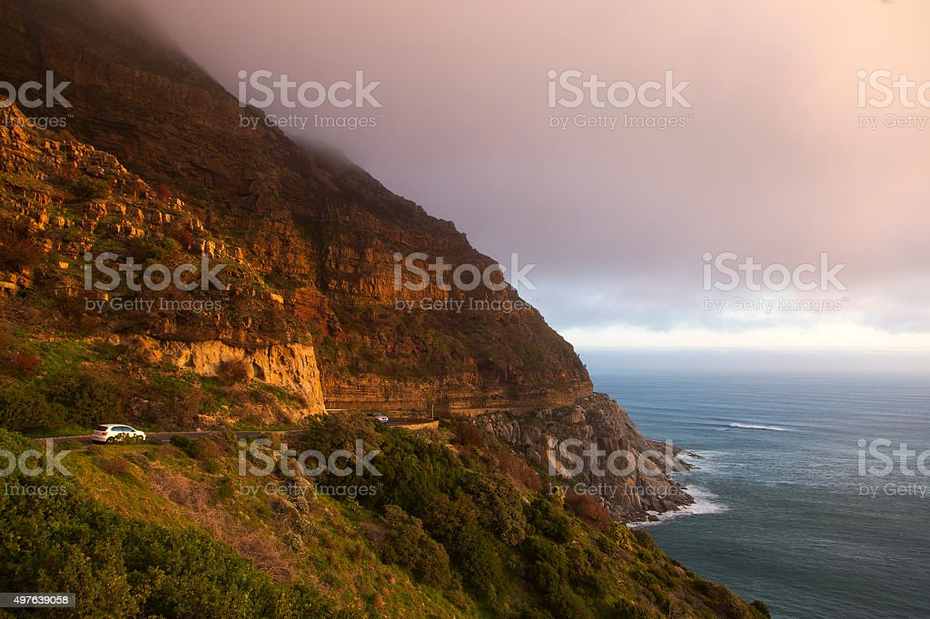 Coastal road Chapman's Peak Drive near Hout Bay, South Africa stock photo
