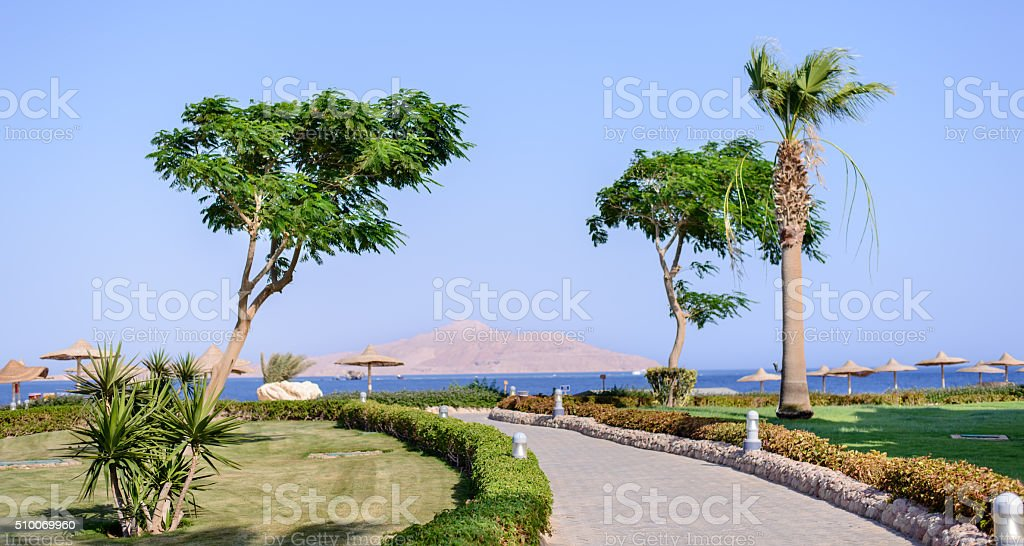 Coastal road on a tropical resort stock photo