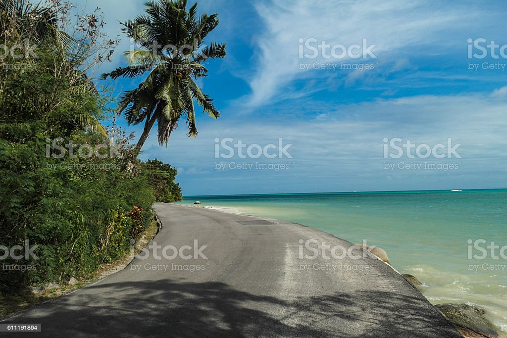 coastal road on Praslin island - Seychelles stock photo