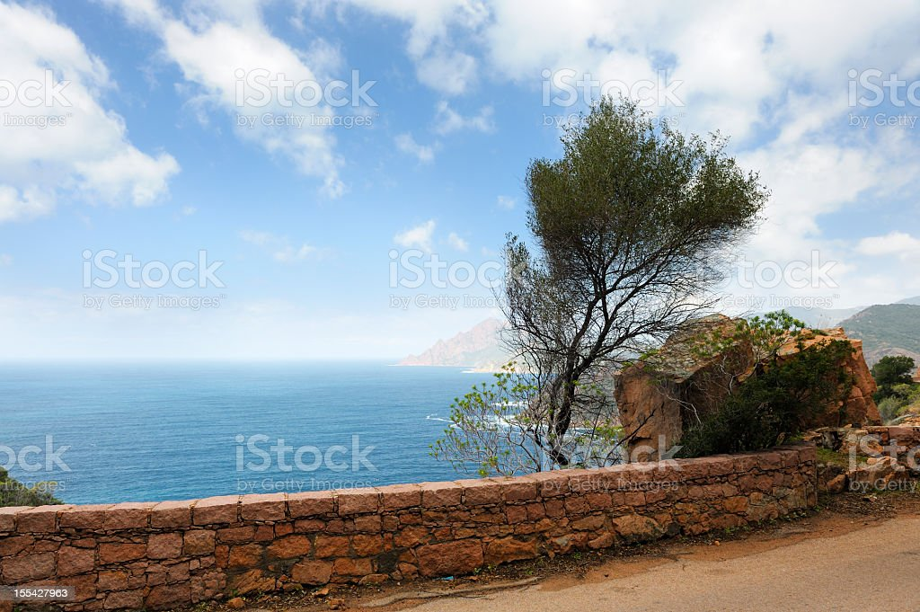 Coastal Road on the Island of Corsica stock photo