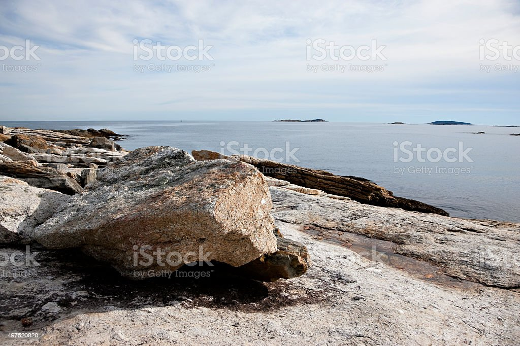 Coastal rock formations in Maine, USA stock photo