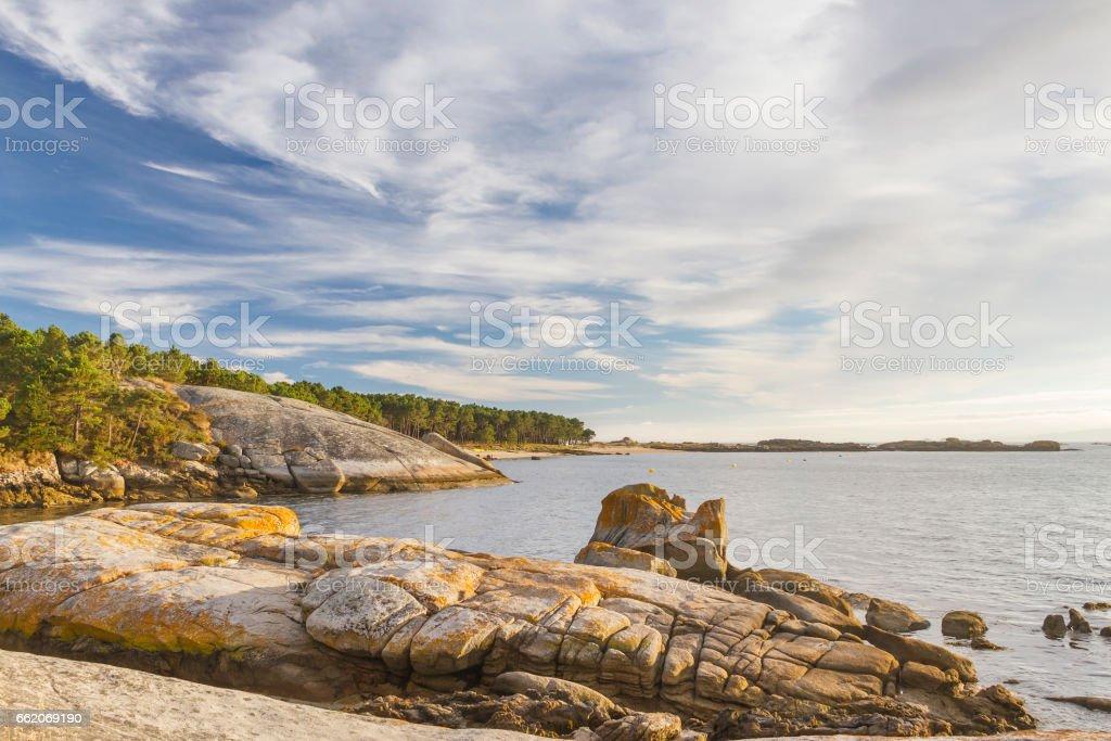 Coastal rocks on Punta Cabalo stock photo