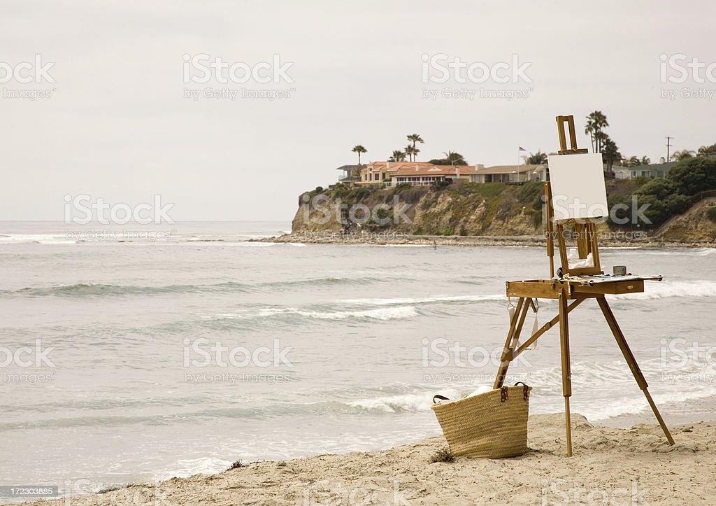 Coastal Scene with Easel stock photo