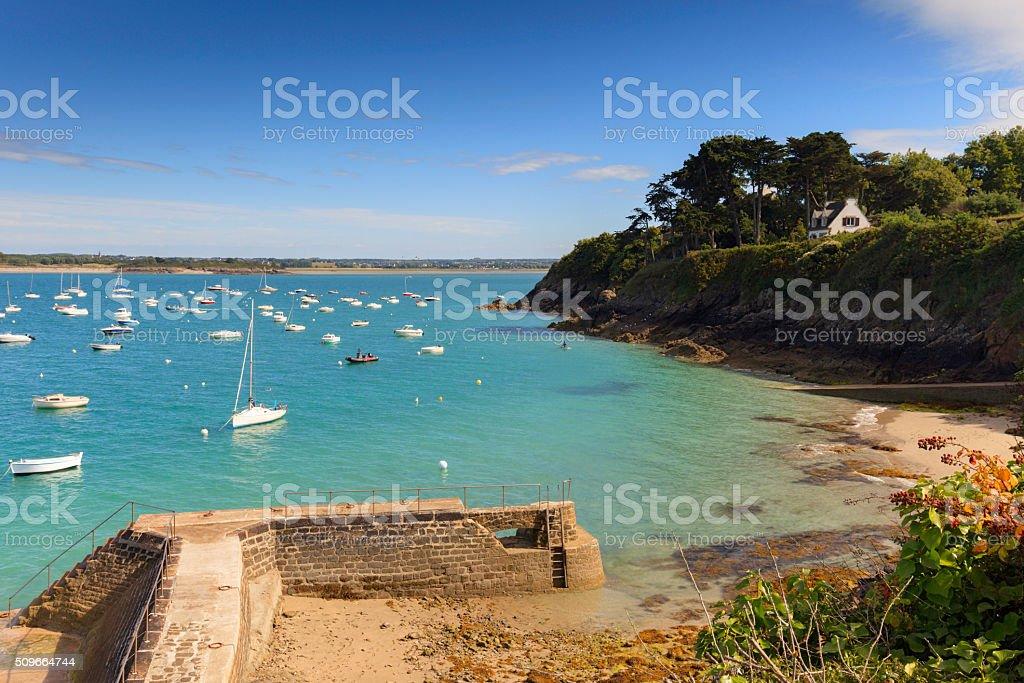 coastal scenery along the coast of Brittany stock photo